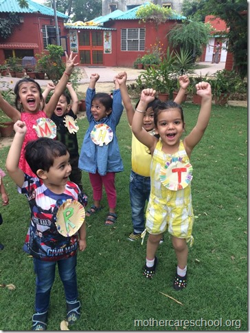 Happy Faces we sport hand made beginning sounds of our names say Tisya, Reyansh,Manasvi, Hasini