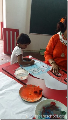 Not to be missed. Ravan heads all ten of them deligently being worked upon by Mothercare kids (1)