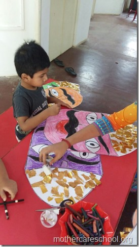 Not to be missed. Ravan heads all ten of them deligently being worked upon by Mothercare kids