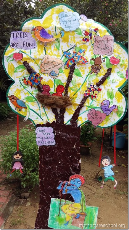 Playgroup kids involved with making of this Tree thats Fun for birds, monkeys, butterflies, kids even their loving krishna.