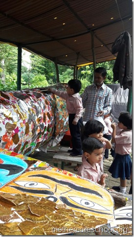 Ravan in the making by the playgroup at Mothercare school (3)