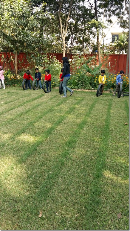 sports  day rolly polly race by nursery