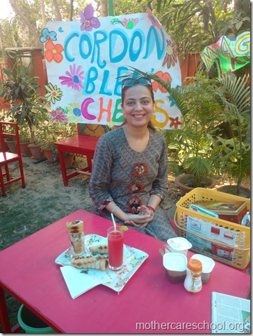 tisya's mom bhavna with her cone chaat and watermelon cooler